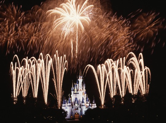 disney castle fireworks. Fireworks around Cinderella#39;s